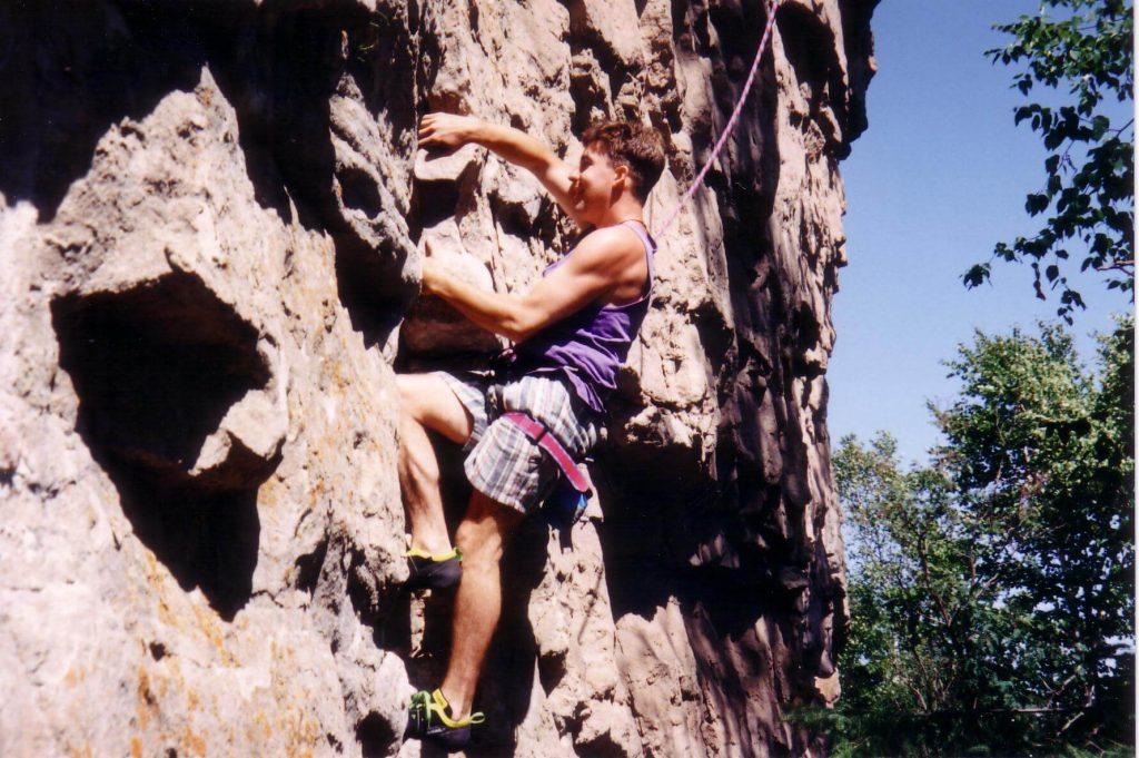 John Chafe rock climbing