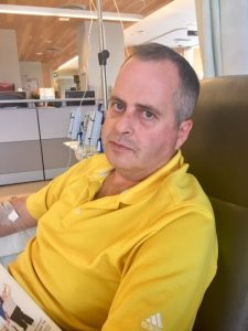 Ian McDonell having his first immunotherapy treatment.