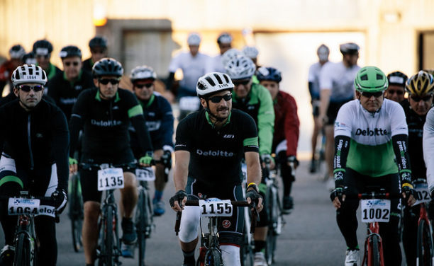 Cyclists at starting line of race