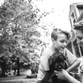 Vesna Zic-Cote, son and dog