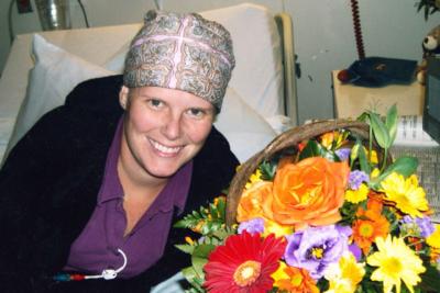 Heather Harris preparing herself prior to her transplant operation.