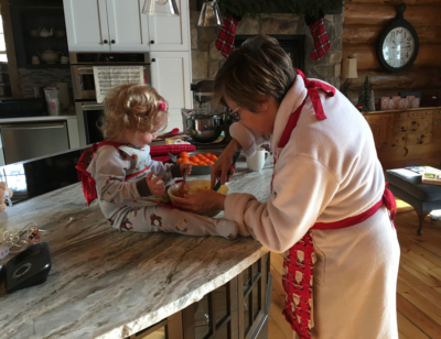 June making cookies after Christmas with her granddaughter Leah.