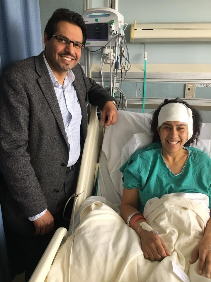 Hospital-bound Natasha with Dr. Fahad Alkerayf