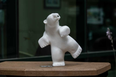 The dancing bear that Saila began carving as he was receiving treatment at The Ottawa Hospital Cancer Centre.