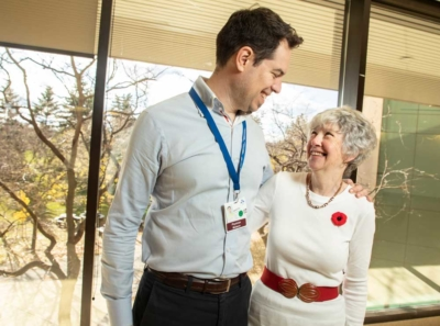 Dr. Guillaume Martel and Phyllis Holmes embrace at The Ottawa Hospital.