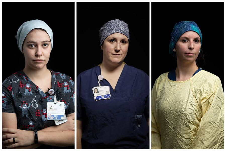 Vanessa Large, Kristine Belmore and Leah Mills, nurses on the COVID-19 floor.