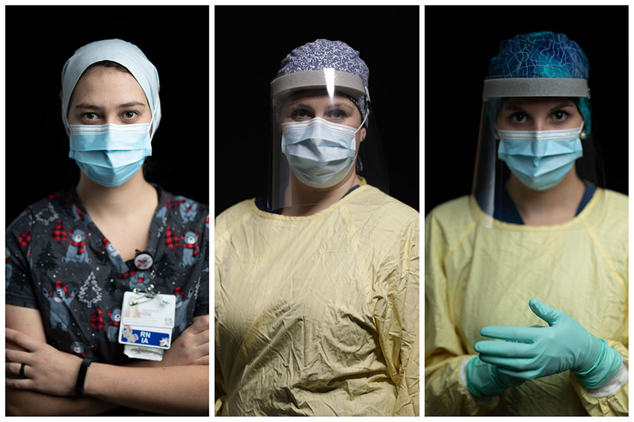Vanessa Large, Kristine Belmore and Leah Mills, nurses on the COVID-19 floor, wearing PPE.