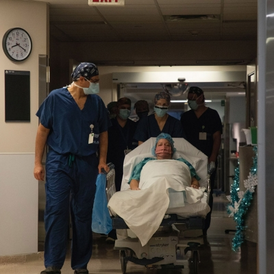 Michele being wheeled into surgery at The Ottawa Hospital to remove her meningioma tumour.
