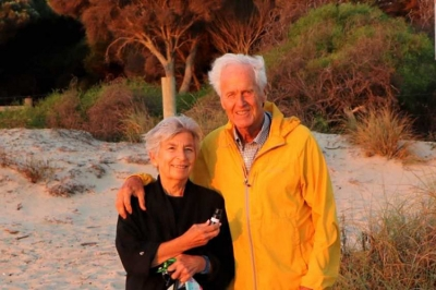 Dee with her husband of 40 years, Michel, on a beach in Freemantle, Australia