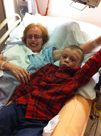 Karen Toop with her son, following her accident in 2012