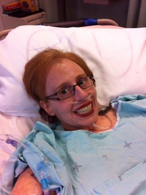 Karen Toop in hospital bed